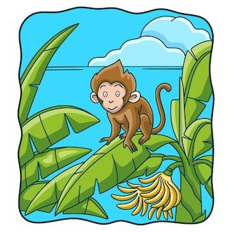 漫画イラスト猿登るバナナの木