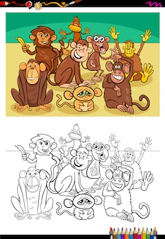 Cartoon illustration of monkeys coloring book