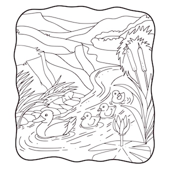 Карикатура иллюстрации мать утка с ее цыплятами, плавающими в реке книга или страница для детей черно-белые