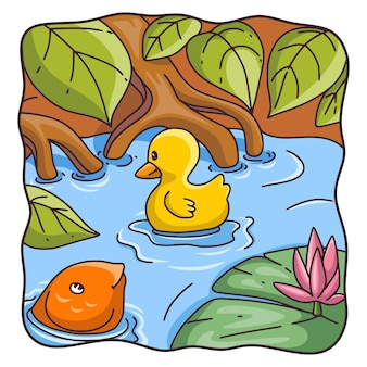 Карикатура иллюстрации утка мать с птенцами, плавающими в реке