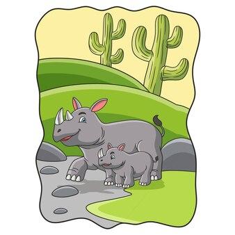 Карикатура иллюстрации мать носорога с детенышами гуляют в лесу