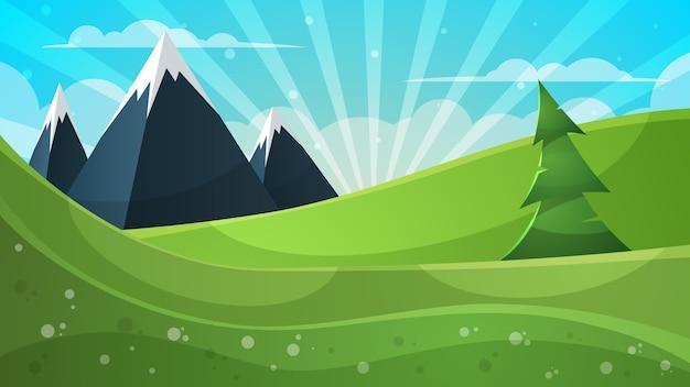 漫画イラスト。山、冬、雲、太陽。
