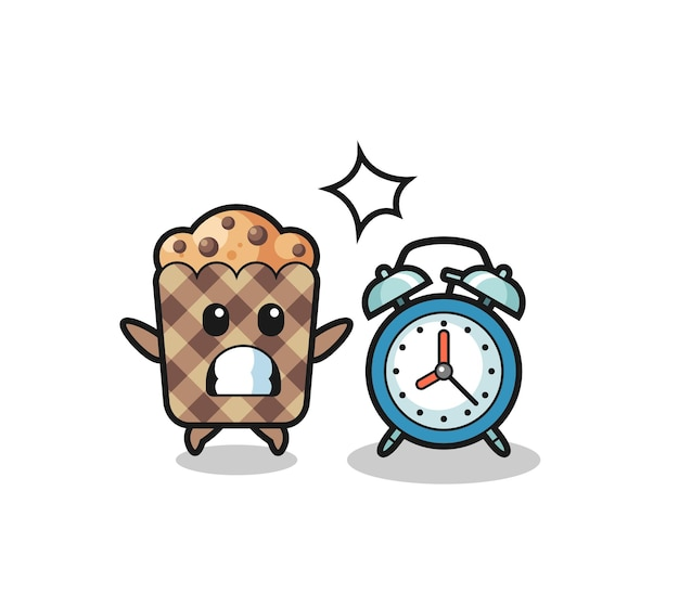 Cartoon illustration of muffin is surprised with a giant alarm clock , cute design