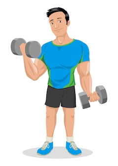 Cartoon illustration of a muscular male figure exercising with dumbbells