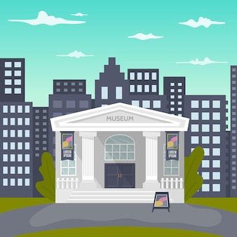 A cartoon illustration of a museum building with a name and columns and a city in the background