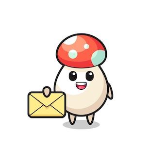 Cartoon illustration of mushroom holding a yellow letter , cute style design for t shirt, sticker, logo element