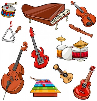 Cartoon illustration of musical instruments set