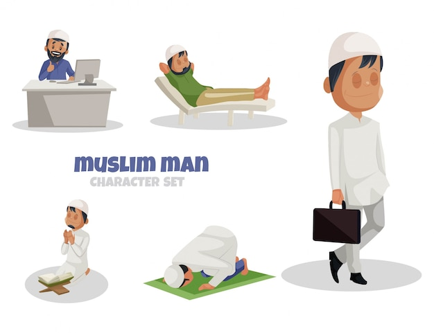 Cartoon illustration of muslim man character set