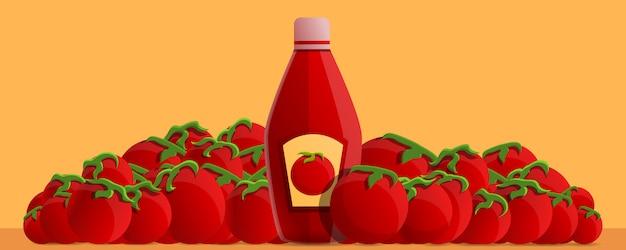 Cartoon illustration of natural tomato ketchup
