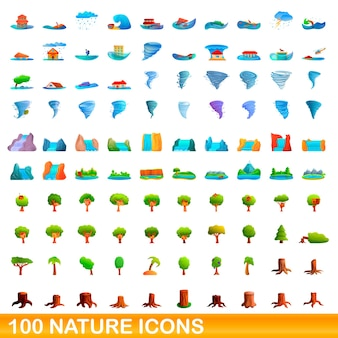 Cartoon illustration of nature icons set isolated on white
