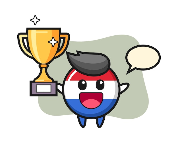 Cartoon illustration of netherlands flag badge is happy holding up the golden trophy