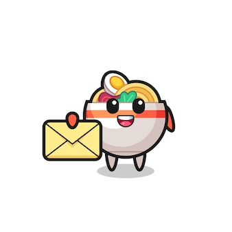 Cartoon illustration of noodle bowl holding a yellow letter , cute style design for t shirt, sticker, logo element