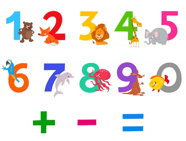 Cartoon illustration of numbers set with animals