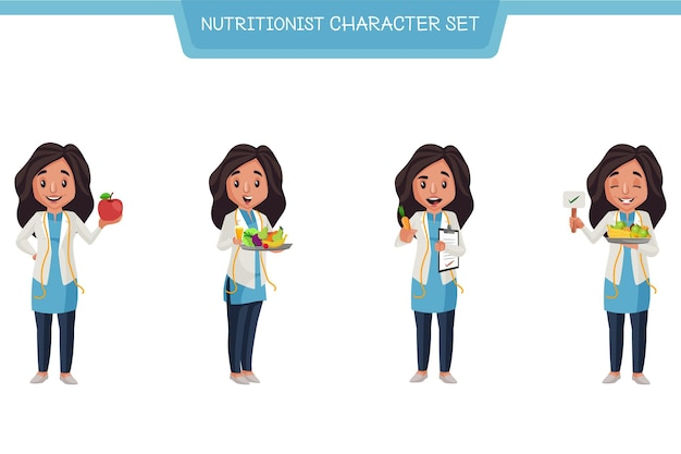 Cartoon illustration of nutritionist character set