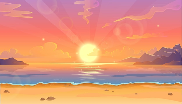 Cartoon illustration of ocean landscape in sunset or sunrise with beautiful pink sky and sun reflection over the water.  beautiful nature with beach.