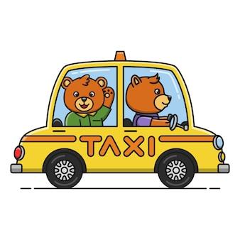 Мультфильм иллюстрация медведя за рулем автомобиля такси