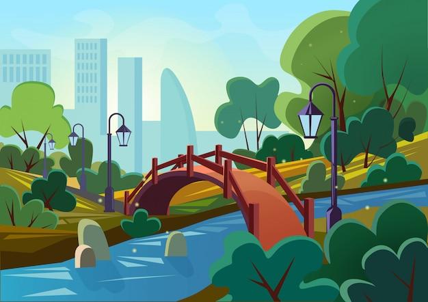 일출 아침에 다리와 강 아름다운 여름 공공 도시 공원의 만화 그림