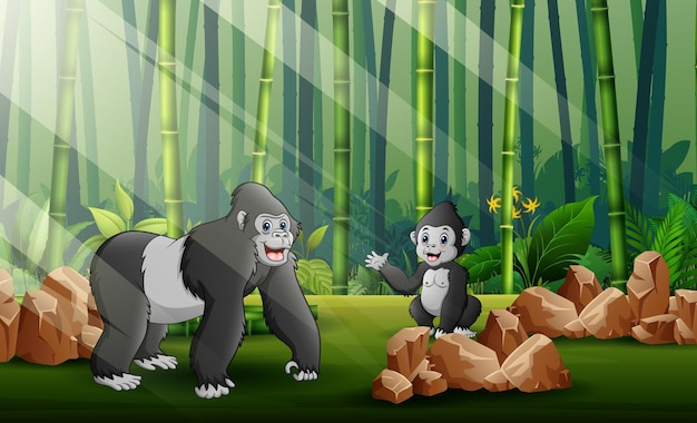 숲 배경에서 그녀의 새끼와 함께 큰 고릴라의 만화 그림