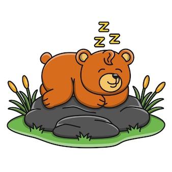 Карикатура иллюстрации милый медведь спит