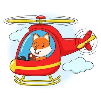 ヘリコプターで飛んでいるかわいいキツネの漫画イラスト