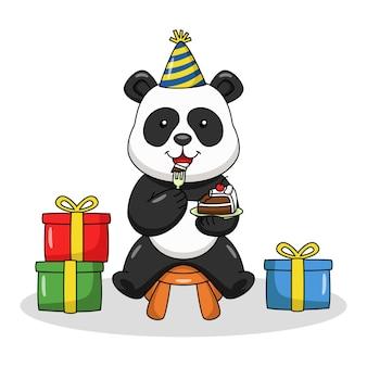 Карикатура иллюстрации милая панда ест торт