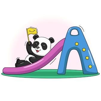 슬라이드에서 노는 귀여운 팬더의 만화 그림