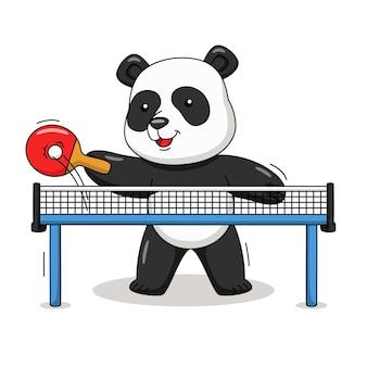 Карикатура иллюстрации милая панда, играющая в настольный теннис