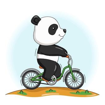 자전거를 타는 귀여운 팬더의 만화 그림