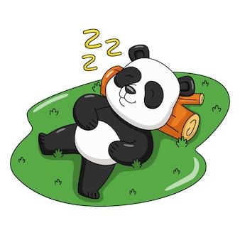 眠っているかわいいパンダの漫画イラスト