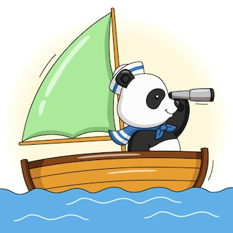 배에 귀여운 선원 팬더의 만화 그림