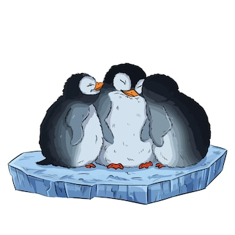 빙원에 귀여운 세 아기 펭귄의 만화 그림. 벡터 주식 만화 스타일 그림