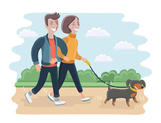 彼らの犬と一緒に公園を歩いている家族の漫画イラスト