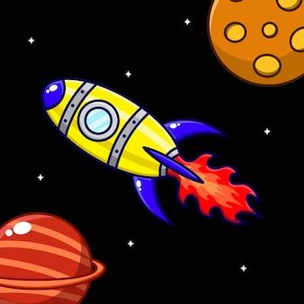 Карикатура иллюстрации ракеты, летящей между планетами