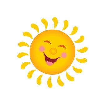 아이들을 위한 웃는 태양의 만화 삽화. 벡터.