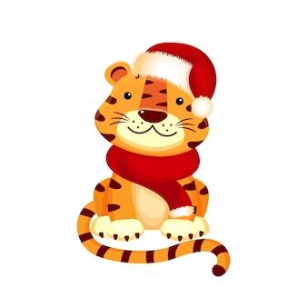흰색 배경에 고립 된 산타 모자에 호랑이 새끼의 만화 그림