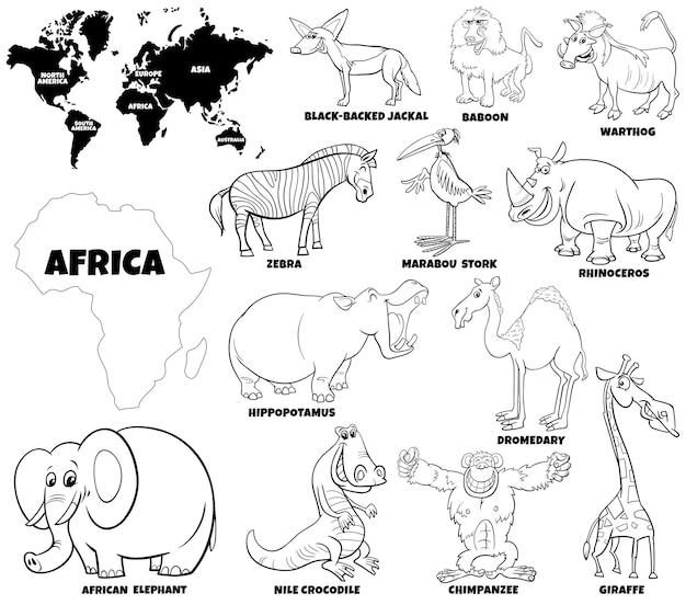 Карикатура иллюстрации набор африканских животных символов раскраски страницы книги