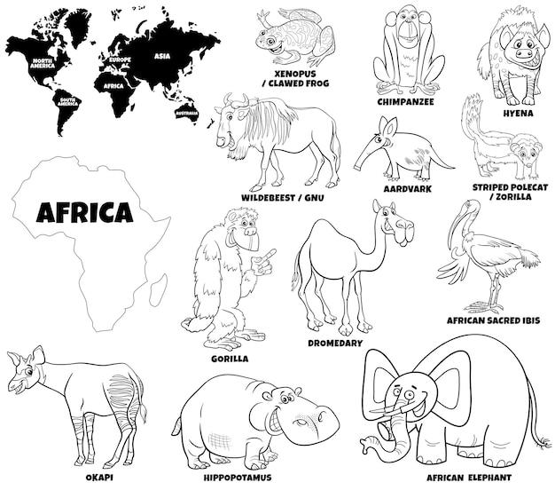 아프리카 동물 세트와 대륙 모양의 만화 그림 색칠하기 책 페이지