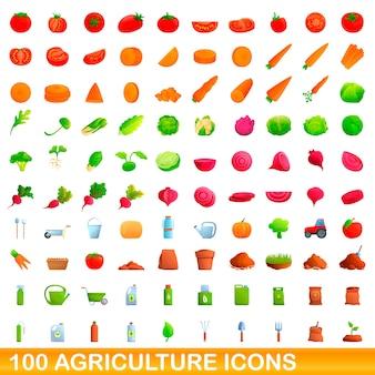 Карикатура иллюстрации набора иконок сельского хозяйства, изолированные на белом