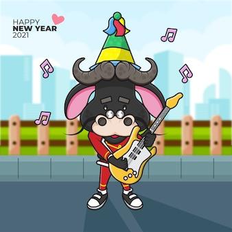 ギターを弾くパーティーハットと新年あけましておめでとうございますを身に着けている去勢牛の漫画イラスト