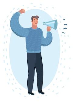 Мультфильм иллюстрация злой человек с мегафоном в руке. мужские персонажи и говорящие.