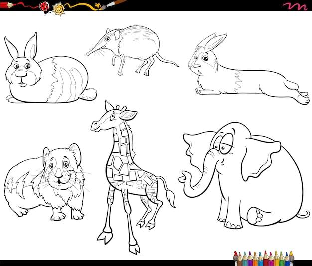Раскраски страницы книги набор символов животных иллюстрации шаржа