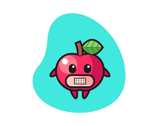 口の中にテープでリンゴの漫画イラスト