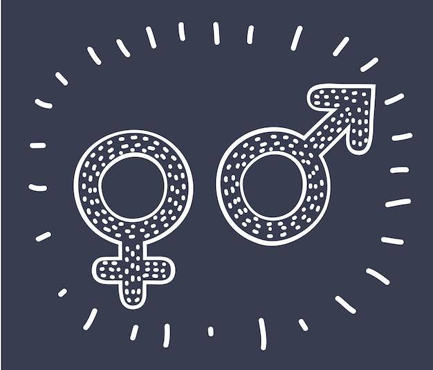 Карикатура иллюстрации спины и белые женские мужские символы