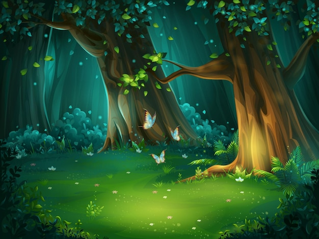 背景の森の空き地の漫画イラスト。蝶と明るい木。デザインゲーム、ウェブサイト、携帯電話、印刷用。