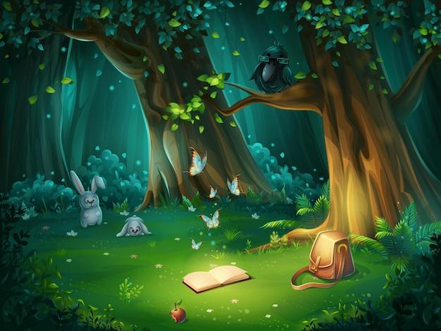 背景の森の空き地の漫画イラスト。ノウサギ、蝶、フクロウのメガネ、本、リンゴ、トラベルバッグの明るい木。