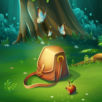 バッグと背景の森の空き地の漫画イラスト。うさぎ、蝶、リンゴ、トラベルバッグと明るい木。デザインゲーム、ウェブサイト、携帯電話、印刷用。