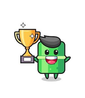 Карикатура иллюстрации бамбука счастлива, держа золотой трофей, милый стиль дизайна для футболки, наклейки, элемента логотипа