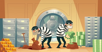 Cartoon illustration of bank robbery in safety vault. Two thieves stealing gold, cash