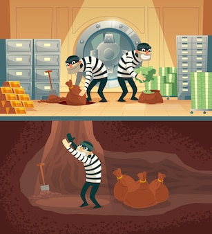 Cartoon illustration of bank robbery in safety vault.