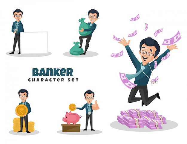 銀行家の文字セットの漫画イラスト